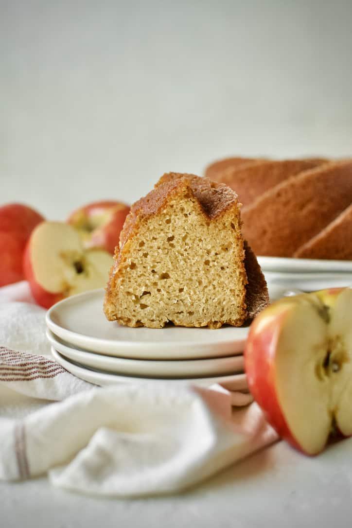 A slice of Apple Cider Donut Cake.