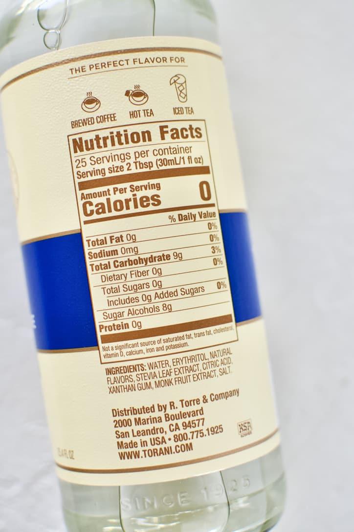 Zero Sugar Drink Sweetener Nutrition Panel.