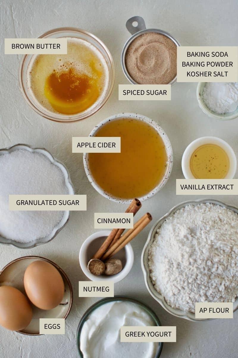 Ingredients needed to make Apple Cider Donut Cake