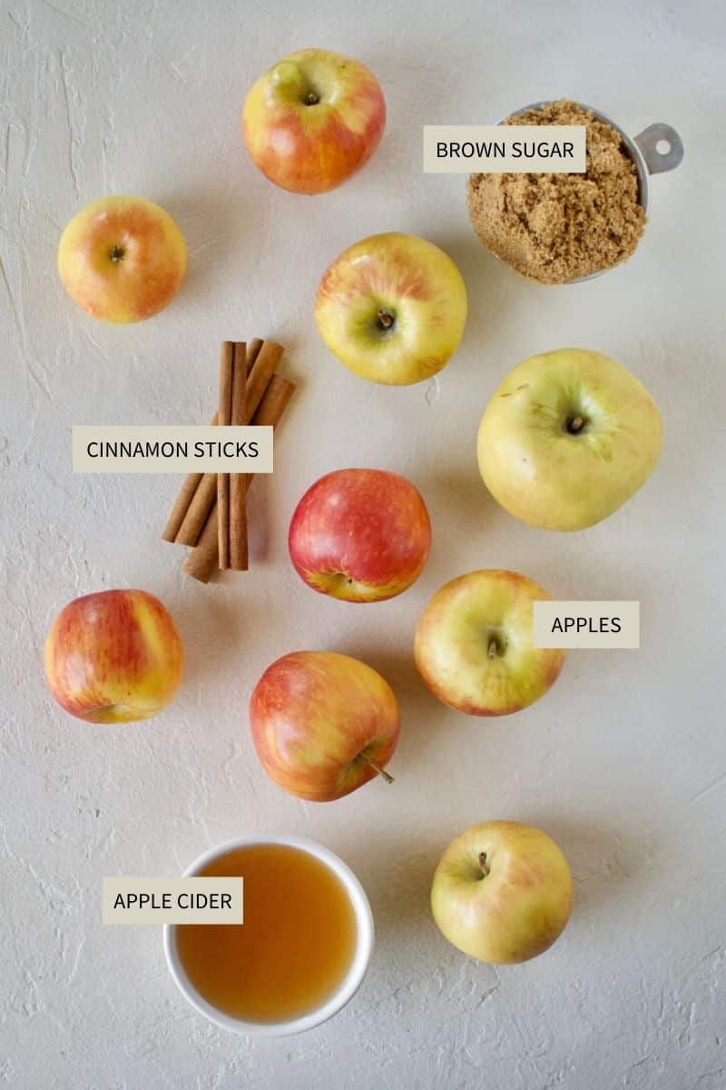 Ingredients needed to make Homemade Apple Butter.