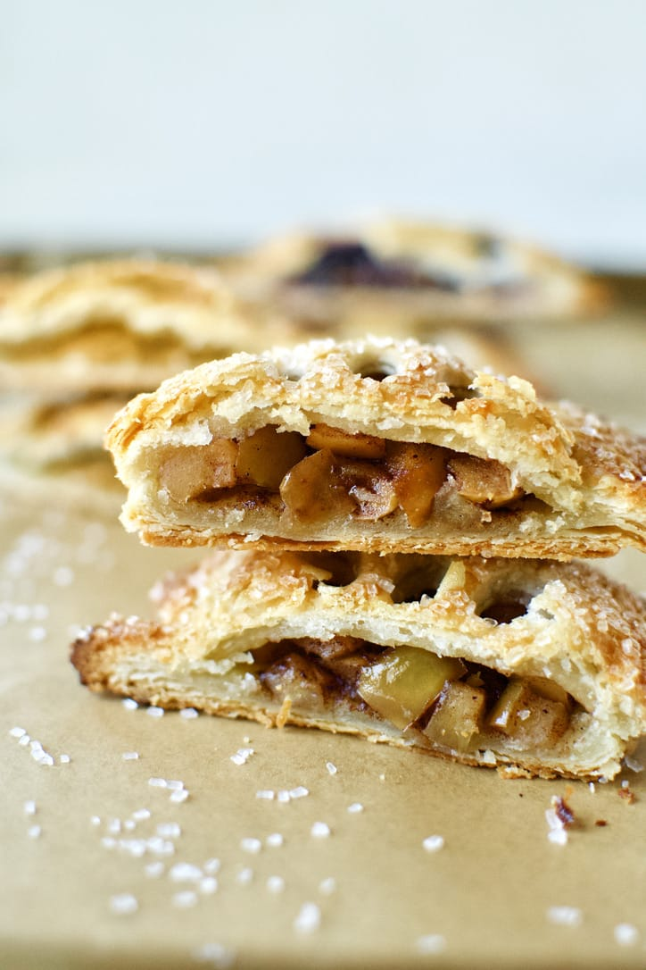 Caramel Apple Hand Pie. Sliced in half and ready to eat.