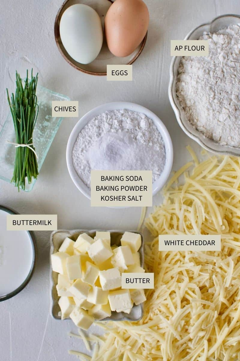 Ingredients needed to make Cheddar Biscuits.