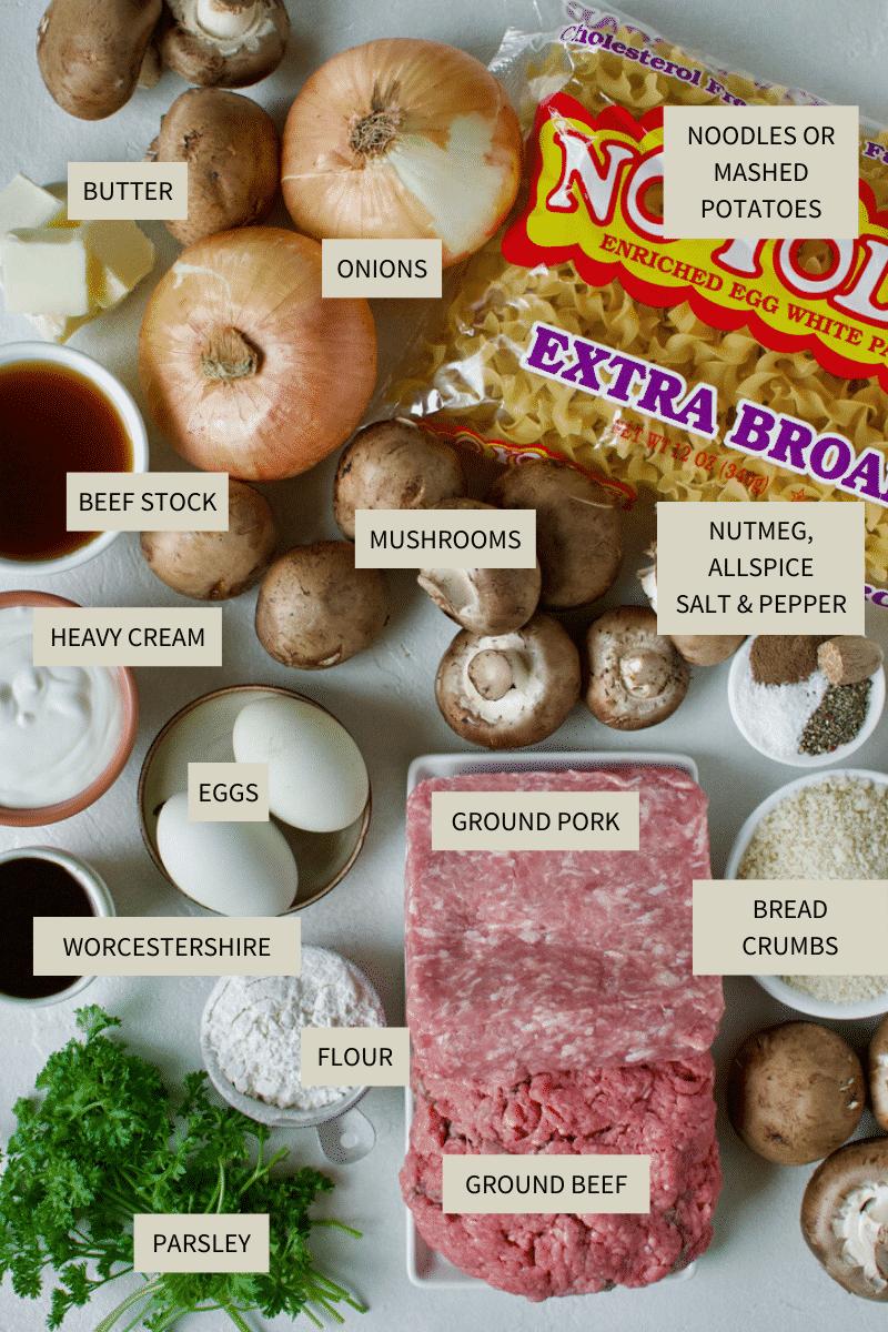 Ingredients needed to make Easy Swedish Meatballs.